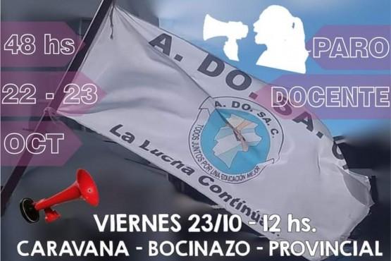 ADOSAC resolvió paro provincial el jueves y viernes