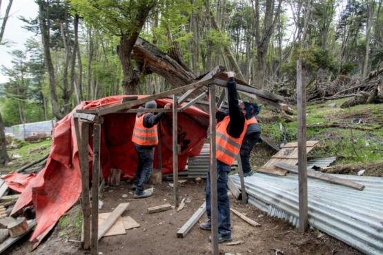 El municipio de Ushuaia desarmó una casilla en un espacio verde