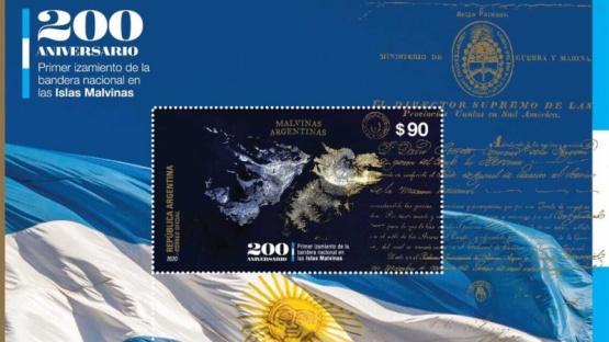 El jueves 5 se presentará un sello postal del Correo Argentino dedicado al bicentenario del izamiento.