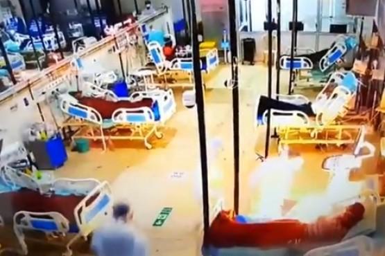 Una máquina de oxígeno se prendió fuego mientras era usada por un paciente con coronavirus