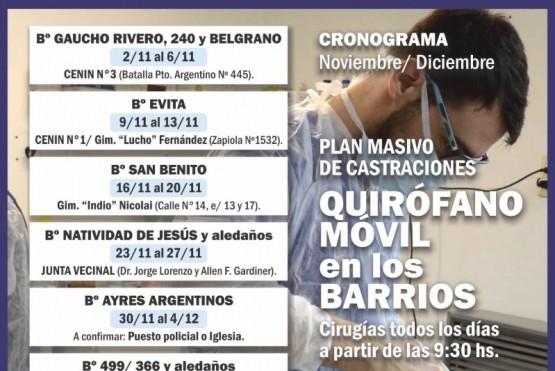 A partir del lunes, el castramóvil estará en el Lucho Fernández