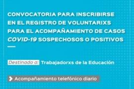 Educación convoca a inscribirse en el Registro de Voluntarios para el acompañamiento de casos COVID - 19
