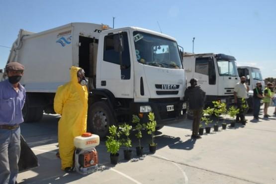Trelew: comenzó amplio operativo de limpieza y desinfección en barrio Moreira