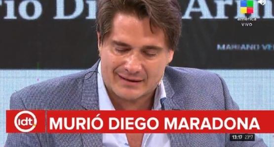 Guillermo Andino se quebró al aire tras anunciar la muerte de Diego Maradona