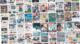 Se robó un diario con la foto de Maradona mientras hacían una entrevista en vivo