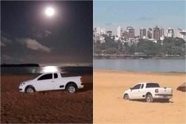Paraná  Trató de evitar un control policial, escapó por la playa y quedó atascado en la arena