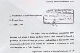 Chubut  El procurador Miquelarena pidió copia del proyecto que habilita la minería