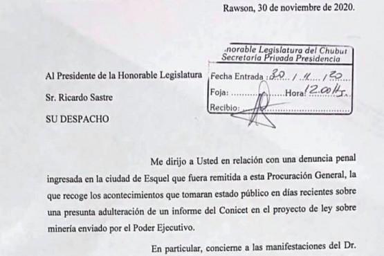 Chubut| El procurador Miquelarena pidió copia del proyecto que habilita la minería