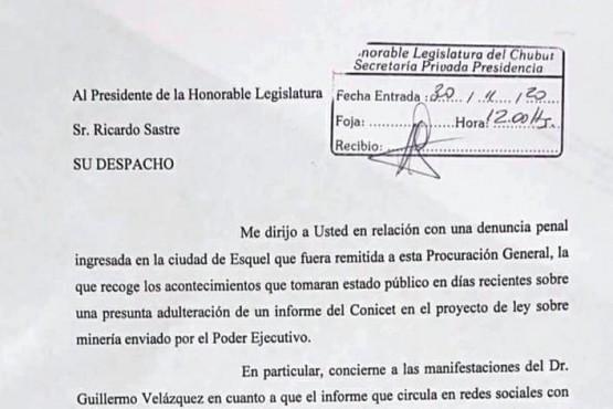 Sastre aclaró a Miquelarena que no ingresó ningún informe de Conicet