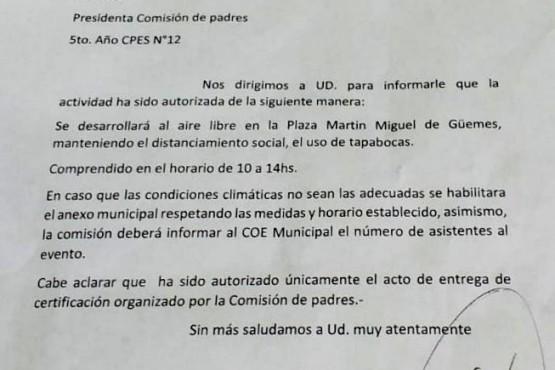 28 de Noviembre| El COE autorizó acto de reconocimiento para los egresados