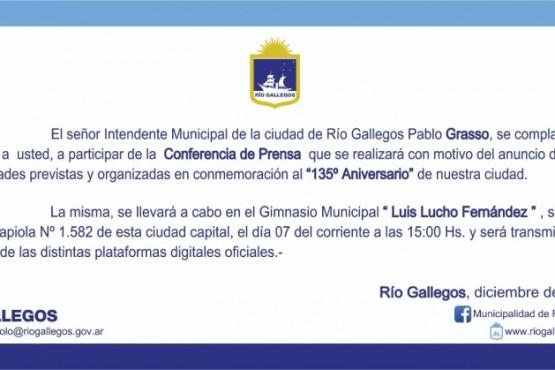 Río Gallegos| Conferencia de Prensa que presidirá el Intendente Grasso con motivo del Aniversario 135 de la Ciudad