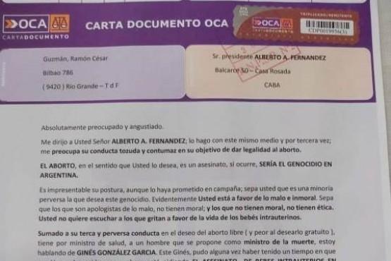 Ramón César Guzmán, de Río Grande, le mandó una Carta Documento al presidente Alberto Fernández por su postura sobre el aborto.