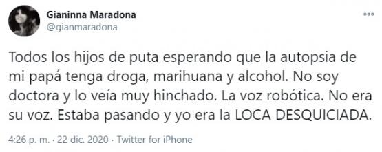 El tweet de la joven.