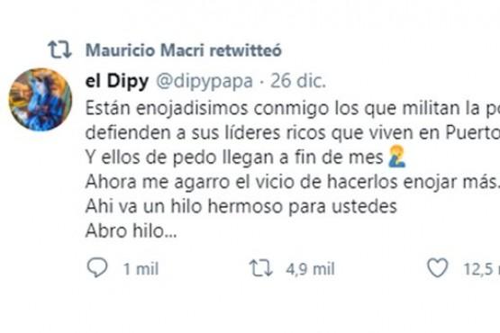 Macri compartió una publicación en twitter de El Dipy para criticar al Gobierno