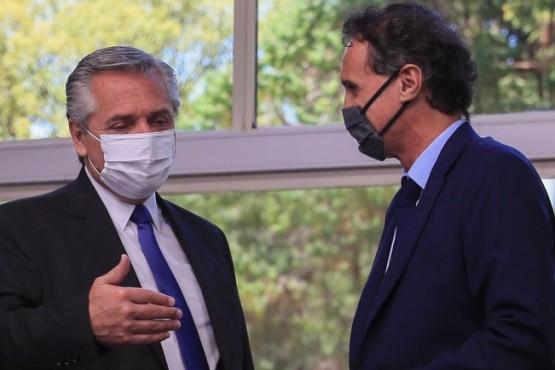 El presidente Alberto Fernández junto al ministro Katopodis.