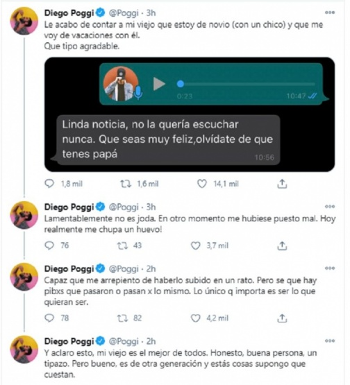 La publicación de Diego Poggi.
