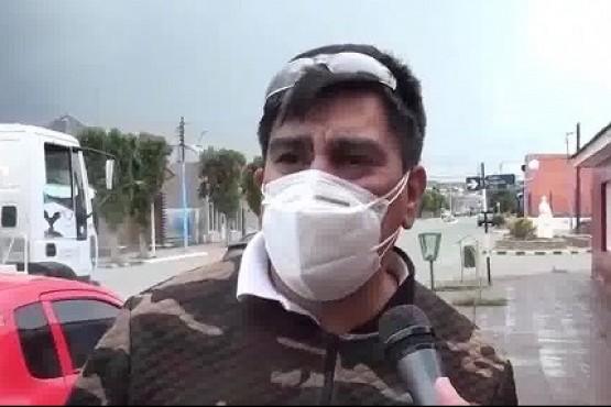 Desinfección en las calles en 28 de Noviembre para combatir el coronavirus