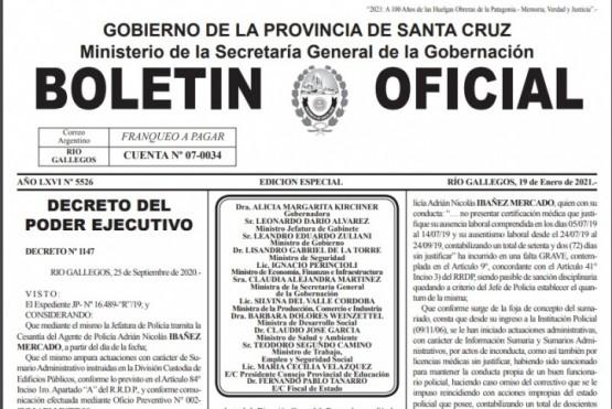Decreto emitido en el Boletín Oficial.