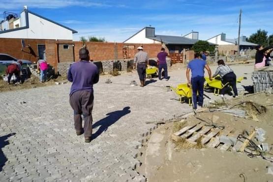 Río Pico| Iniciaron los trabajos de adoquinado