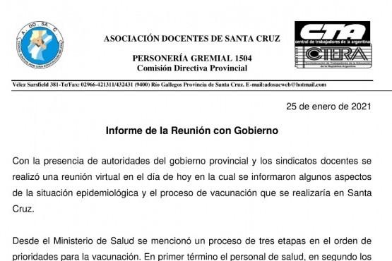 Santa Cruz| CTA se reunió con autoridades del Gobierno