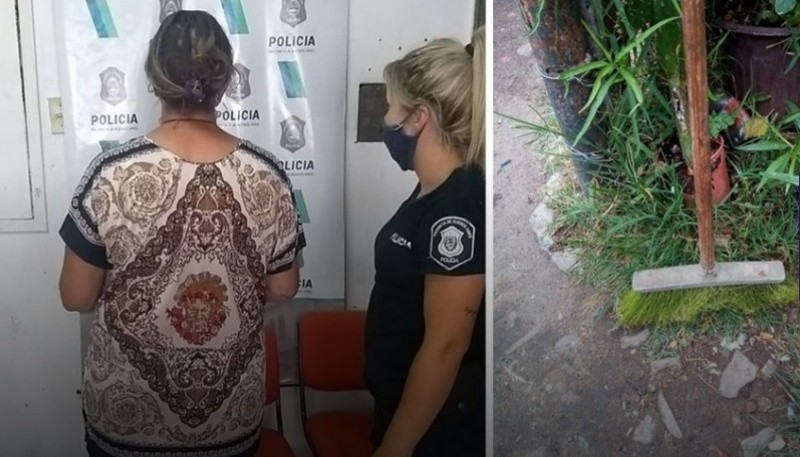 La mujer detenida, acusa de golpear a su nieto con la escoba.