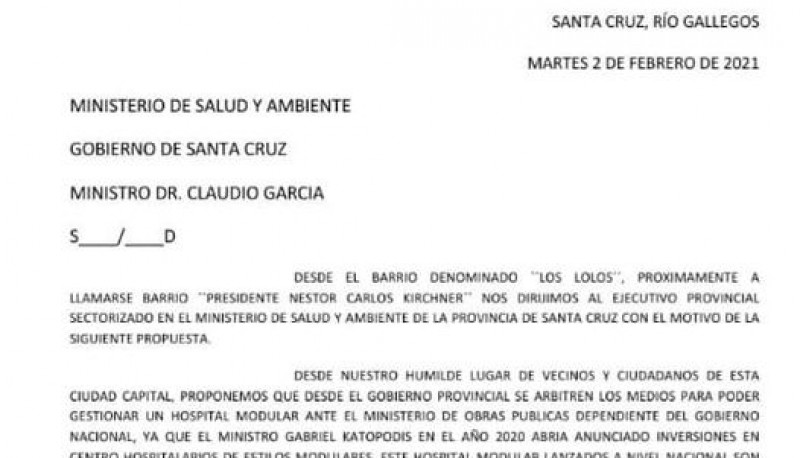 Junta Vecinal del Barrio Néstor Kirchner presentaran proyecto de Hospital Modular