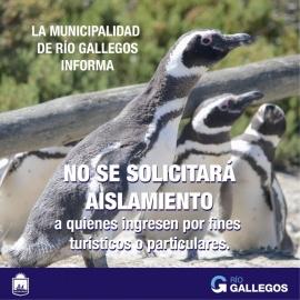 Río Gallegos no exigirá aislamiento a las personas que ingresen con fines turísticos