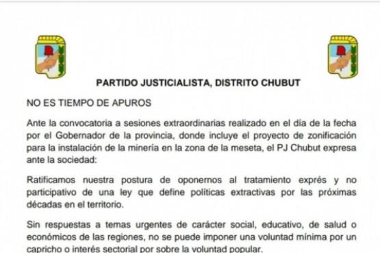PJ Chubut hizo pública su oposición al tratamiento del proyecto de zonificación
