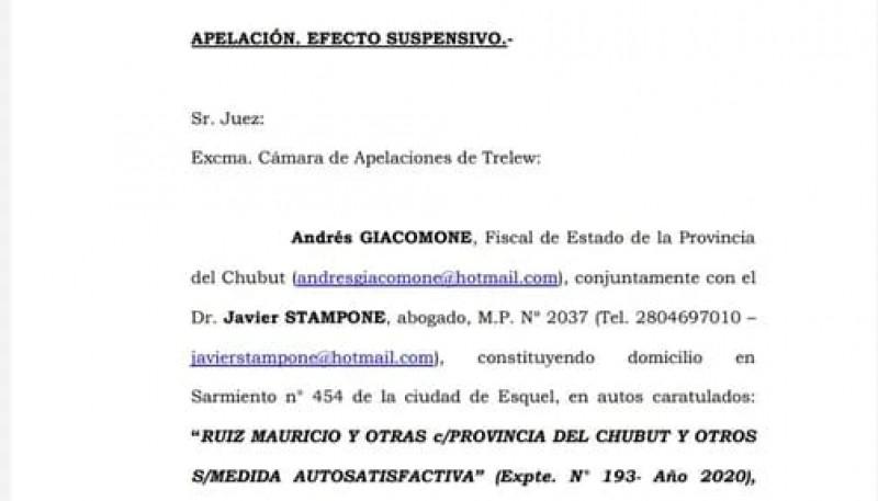 Fiscalía de Estado presentó apelación contra la cautelar de la jueza Arbilla
