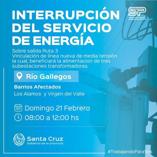 SPSE anuncia corte de energía para este domingo en Río Gallegos