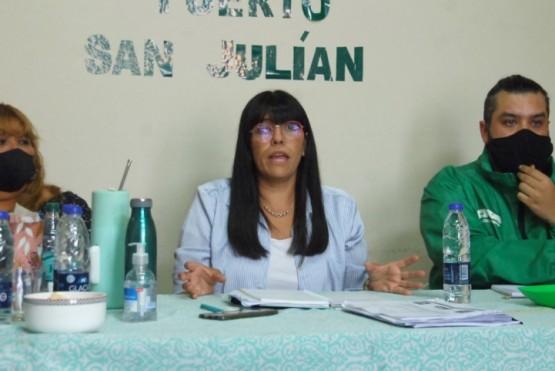 La secretaria general, Olga Reinoso, junto al secretario adjunto, Carlos Garzón.