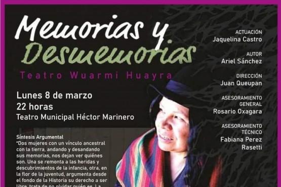 """El unipersonal """"Memorias y Desmemorias"""" se presentará en el Teatro Municipal"""