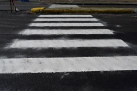 Avenida San Martín: comenzaron trabajos de pintura de sendas peatonales en Río Gallegos