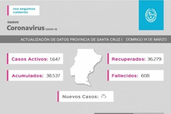 Coronavirus: 75 casos nuevos en la provincia