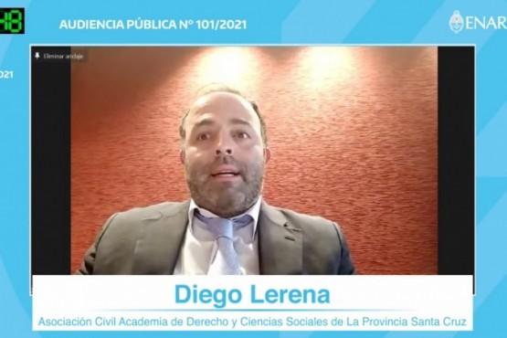 Dr. Diego Lerena durante su participación en la audiencia pública.