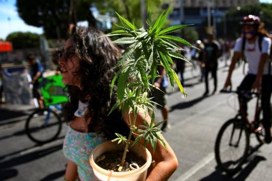 Una manifestante pro cannabis.