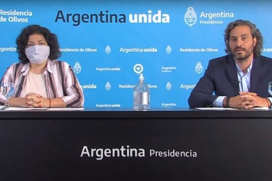 Jefe de Gabinete, Santiago Cafiero, junto a la ministra de Salud, Carla Vizzotti.
