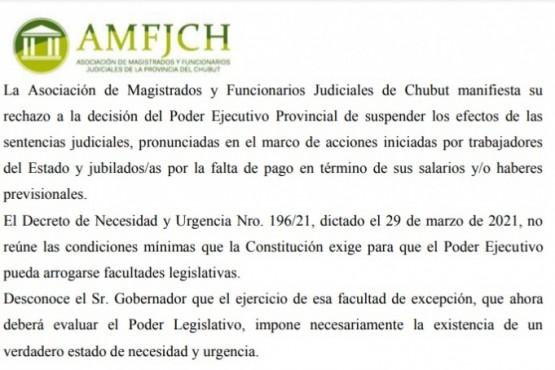 Magistrados y Funcionarios Judiciales del Chubut rechazan DNU de suspensión de pago se sentencias