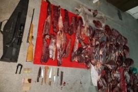 Detenidos con carne faenada y armas