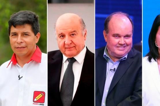 Los cuatros candidatos a la presidencia en Perú.