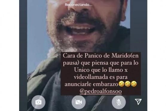 La divertida captura que compartió Paula Chaves de su videollamada con Pedro Alfonso