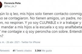 """Me contagié porque soy peroncha con sobre"", irónica respuesta de Florencia Peña tras dar positivo a Covid"