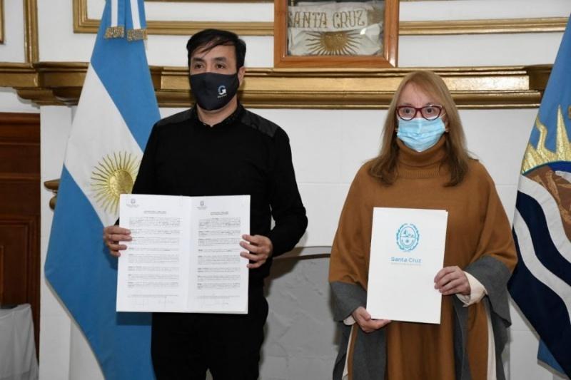 Alicia Kirchner junto a Pablo Grasso.