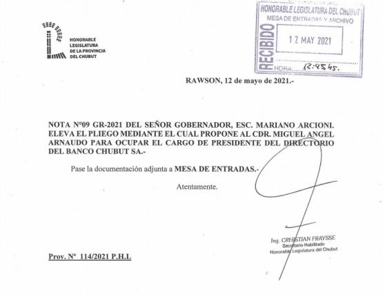 Ingresó el pliego de Arnaudo para ser designado presidente del Banco del Chubut