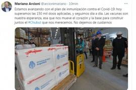 Mariano Arcioni manifestó su satisfacción porque en Chubut ya se vacunaron más de 150 mil personas