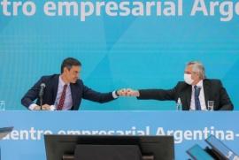 Alberto Fernández y Pedro Sánchez encabezaron una reunión de trabajo con empresarios