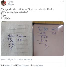 """""""Mi hija divide restando"""": mostró cómo hace una cuenta matemática y generó un debate"""