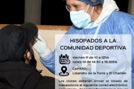 Hisopan a trabajadores de clubes deportivos en Río Gallegos