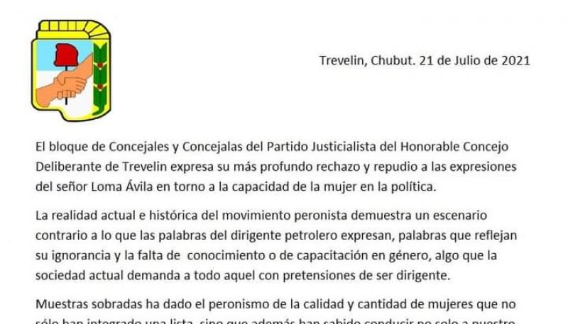 Repudio del concejales y concejalas del PJ a las declaraciones de Jorge Ávila