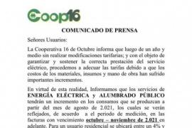 La Cooperativa 16 de Octubre anunció actualización en la tarifa de energía eléctrica